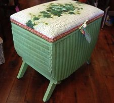 Vintage Lloyd Loom Wicker Stool with Storage I WANT THIS!!!!