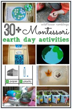 Earth Montessori Earth Day Activities - Wildflower Ramblings - These ideas will help your child appreciate and love the Earth especially. Earth Day Games, Earth Day Activities, Spring Activities, Toddler Activities, Fun Activities, Science Toddlers, Therapy Activities, Earth Day Projects, Earth Day Crafts