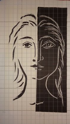 1082 Picasso painting gridded for the use of art students and painters.