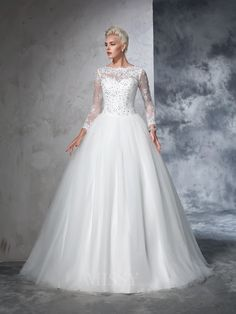 Ball Gown Long Sleeves Bateau Net Lace Sweep/Brush Train Wedding Dress With Pleats