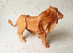 Origami lion Diagram by Satoshi Kamiya. Folded by me [nyanko sensei]]. Mulberry paper. Size: 60 x 60 cm. http://www.unitednow.com/search.aspx?searchterm=paper+squares