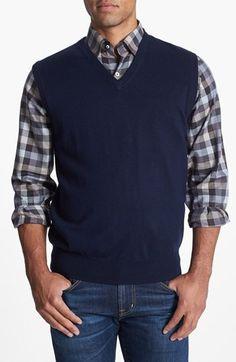 Cutter & Buck Men's Big and Tall Douglas V-Neck Sweater Vest ...