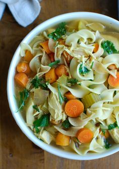 Slow Cooker Chicken Noodle Soup is the perfect fall comfort food that is easily made in the slow cooker. This is also a great immunity boosting soup for cold & flu season! // A Cedar Spoon
