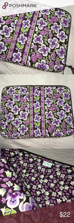 NEW Vera Bradley laptop sleeve/ case padded New without tags Vera Bradley padded laptop sleeve/ case. 16.5 inches by 12 inches. Black / purple/ green Vera Bradley Bags Laptop Bags