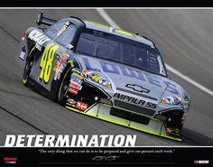 Jimmie Johnson DETERMINATION Motivational NASCAR Poster - 2009 #48 Chevrolet Impala ~Available at www.sportsposterwarehouse.com