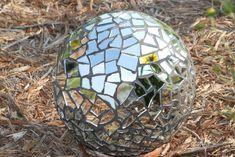 Disco ball inspired mirrored garden sphere
