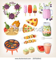 Colorful elements and food for recreation at hot summer day - stock vector