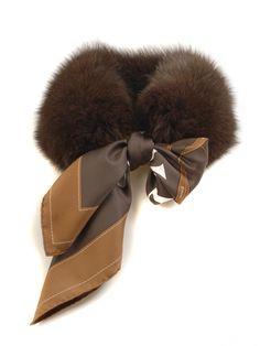 MaiTai Collection fox fur collar in MOCCA