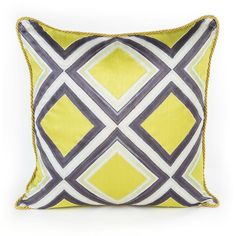MacKenzie-Childs Chartreuse Mosaic Pillow ($190) ❤ liked on Polyvore featuring home, home decor, throw pillows, chartrse, chartreuse throw pillow, silk throw pillows and mosaic home decor