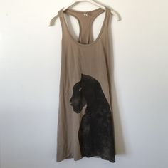 """Tan and black cougar tank dress medium So soft and comfortable! Bought while on vacation, gently worn. Great condition. Made in Italy! 31"""" in length. Bundle to save 25%! MET Dresses Mini"""