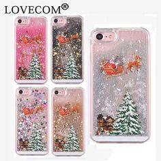 LOVECOM Для iPhone 7 6 6 S Плюс 4S 5S 5C Чехлы Для samsung S5 S6 S7 Примечание 3 4 5 Зыбучие Пески Ясно Рождественская Елка Жесткий Телефон случае