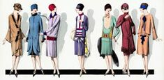 French Fashion Parade, wonderful illustration from the fashion magazine Paris-Elegant, lovely ladies line-up 1920 Style, Flapper Style, My Style, Flapper Fashion, 30s Fashion, Male Fashion, 1920 Women, 1920s Fashion Women, Vintage Fashion