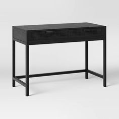 Minsmere Writing Desk With Drawers - Opalhouse™ : Target Black Vanity Desk, Black Desk, Writing Desk With Drawers, Metal Floor, Furniture Hardware, Natural Brown, Spring Home, Fashion Room, Storage Spaces