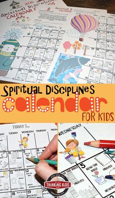 Spiritual Disciplines Calendar for Kids We train our kids to do things that are good for them. For Christian parents, the daily basics also need to include training our children in the spiritual disciplines of the Christian life. Bible Crafts For Kids, Activities For Kids, Vbs Crafts, Learning Activities, Bible Lessons, Lessons For Kids, Spiritual Disciplines, Spiritual Practices, Spiritual Growth