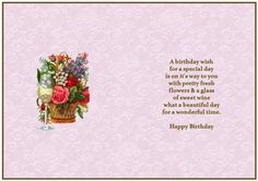 Beautiful Floral Birthday Insert