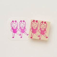 Hand Carved Emoji Dancing Twins Rubber Stamp