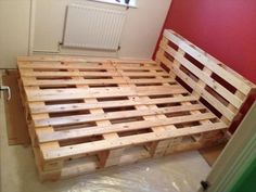 A simple Pallet wooden bed structure frame are shown in the picture which is placed in the room and not fully prepared. And it is so simple DIY project which is you can make in your home and use it carefully in your home. Watch no light are fixed in the bed but you can fixed any color of light in the bed which is make it shining thing in your room. And it become shine.