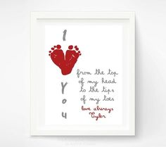 valentines day art heart footprints red pink baby gift decor