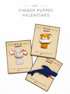 DIY Wild Animal Finger Puppet Valentines Day Cards by Alyson Adams // Over and Out Valentines Day Holiday, Valentine Day Cards, Heart Day, Jungle Party, Finger Puppets, School Projects, Are You Happy, Crafty, My Favorite Things