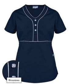 Butter-Soft Scrubs by UA™ Empire Waist Y-Neck Top w Rhinestone Detail in Navy w Silver - Style # RS966C #uniformadvantage #uascrubs #buttersoftscrubs #buttersoftblingscrubs #navyscrubs #scrubs #nurse #dental #veterinary #hospitals #clinics