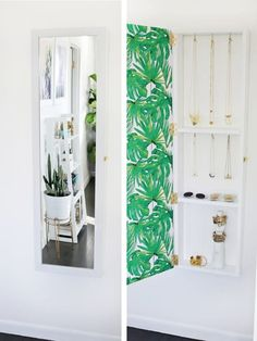 It's so neat and pretty, you'll actually put on your jewelry, and you won't clutter up your nightstand with a thousand ring dishes and trinket boxes.Learn how to make it at A Beautiful Mess.If DIY-ing isn't really your thing, you can also get a wall-mounted jewelry storage mirror from Amazon for $89.94.