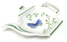 RAYNAUD Limoges Histoire Naturelle Tea Bag Holder Dish Blue Butterfly Plate China Porcelain France by PastPrezence on Etsy