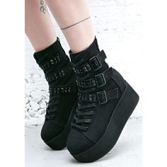 Ridley Platform Boots Dolls ($90) ❤ liked on Polyvore featuring shoes, boots, demonia boots, laced up boots, black platform boots, lace up boots and black laced shoes