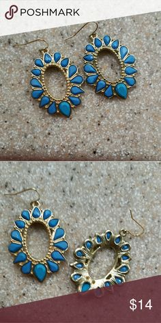 Blue and gold oval earrings Hypoallergenic fishhooks with blue resin stones set goldtone ovals.  Classic look.  Excellent used condition. Jewelry Earrings