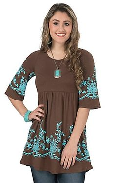Wired Heart Women's Brown with Turquoise Floral Print 3/4 Sleeve Tunic