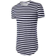 Camiseta Listrada branca com Azul Marinho Longline Oversized