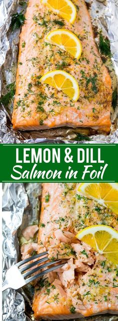 "Salmon in Foil with Lemon and Dill Dinner Recipe | Dinner at the Zoo ""This recipe for salmon in foil is the easiest and most delicious way to eat fish! Salmon is flavored with lemon garlic butter, baked in foil, then topped with fresh dill. The perfect meal for any occasion!"""