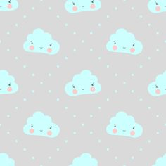 Seamless pattern with childish cloud with a smile and a light blue cute little stars on a gray background.