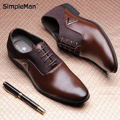 New Men's Real Cowhide Leather Oxford Shoes