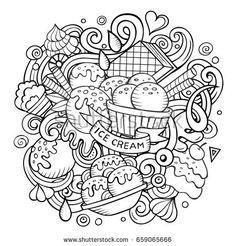 Find Cartoon Handdrawn Doodles Ice Cream Illustration stock images in HD and millions of other royalty-free stock photos, illustrations and vectors in the Shutterstock collection. Cupcake Coloring Pages, Chibi Coloring Pages, Detailed Coloring Pages, School Coloring Pages, Adult Coloring Book Pages, Printable Adult Coloring Pages, Cute Coloring Pages, Free Adult Coloring, Coloring Books