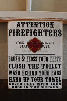 Firefighter Bathroom Sign by Leatherhead on Etsy
