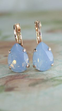 Blue opal crystal teardrop rose gold leverback earrings | blue wedding jewelry | blue bridesmaid earrings | blue crystal earrings | www.endorajewellery.etsy.com