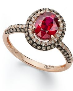 Red Velvet by EFFY Ruby (1-1/2 ct. t.w.) Brown (1/3 ct. t.w.) and White Diamond (1/5 ct. t.w.) Oval Ring in 14k Rose Gold on shopstyle.com