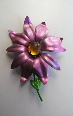 Metalic Light Purple / Lavender VIntage Flower Brooch by ZoeDuJour, $20.00