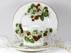 Hammersley Spode Strawberry Ripe. Tea Cup, Saucer and B&B Plate, $47.00/Trio at TheVintageTeacup on etsy 6/19/15