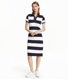 Piqué Dress | #Black/#white striped | Ladies | H&M US