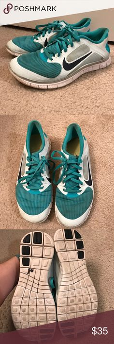 Women's Nike Free Run Women's Nike Free Run athletic shoe. Teal and light blue. Appearance has Wear but still has lots of life in them.  ➡️No Trades. ➡️No Lowball Offers. ➡️No Holds. ➡️Bundle and save! Nike Shoes Athletic Shoes