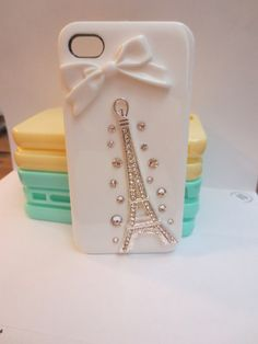 White eiffel tower iPhone 4 case. $19.99, via Etsy.