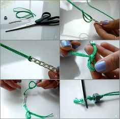 DIY Friendship Chain Bracelet - but with a different cord (or SILK RIBBON?) #Bracelets #Chain #Ribbon