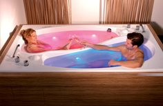 """The yin yang bathtub is ideal for couples who want to spend quality time without encroaching on each other's personal space. The unique yin yang design separates the tub in two equal halves – creating the ultimate in """"his"""" and """"hers"""" bathroom luxury. Modern Bathroom Design, Bathroom Interior Design, Interior Design Living Room, Bathroom Designs, Interior Modern, Kitchen Interior, Two Person Bathtub, Couples Bathtub, Romantic Bathtubs"""