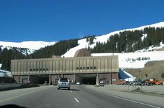 Eisenhower Tunnel - one of the highest and longest mountain tunnels - about 50 miles west of Denver, Colorado, it brings I-70 across the Continental Divide at an elevation of over 11,000 ft. We entered with sun shining and came out with it sleeting!