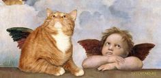 Painting Photobomb by Cats on Famous Antique Art