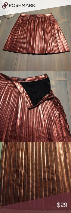 💕Metallic rose gold pleated skirt - Super cute!💕 Rose gold or cooper metallic pleated skirt. NWOT - never worn - too small on the waist for me. My loss is your gain!! Make me an offer! 😊 Skirts Mini