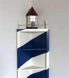 Lighthouse Corner Shelf Nautical Decor Display by catiques Nautical Bedroom, Nautical Bathrooms, Nautical Home, Anchor Bathroom, Lighthouse Decor, Corner Shelves, New Room, Coastal Decor, Painted Furniture