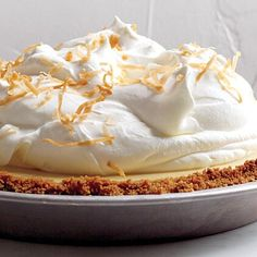 Learn how to make Martha Stewart's classic key lime pie. Our recipe features a graham-cracker crust and has just the right amount of sweetness. Coconut Key Lime Pie Recipe, Coconut Custard Pie, Custard Filling, Coconut Cream, Coconut Recipes, Coconut Desserts, Tropical Desserts, Meringue Pie, Sweet Tarts