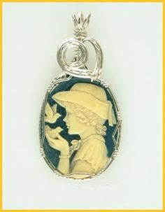 Hand-crafted Resin Cameo Pendant Wire Wrapped ACP3304 | GemsbyLes - Jewelry on ArtFire
